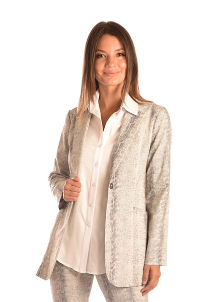 Stretch Jacquard Long Jacket