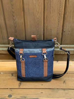 Convertible Waxed Canvas Backpack - Blue and Black