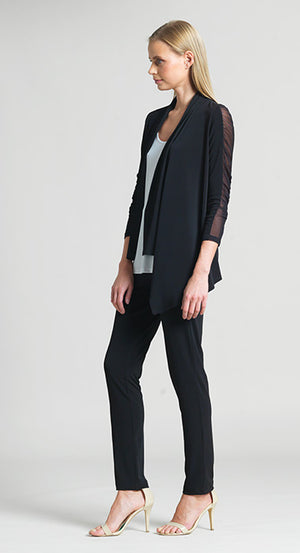 Ruched Mesh Sleeve Cardigan