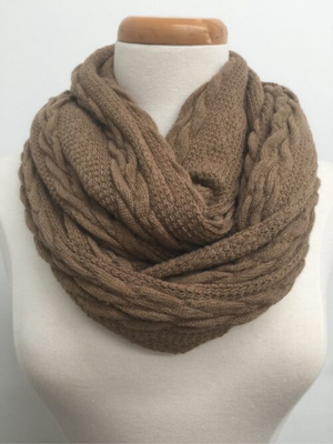 Cable Knit Loop Unisex Scarf - Beige