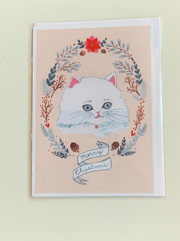 Long Haired Cat Christmas Greeting Card
