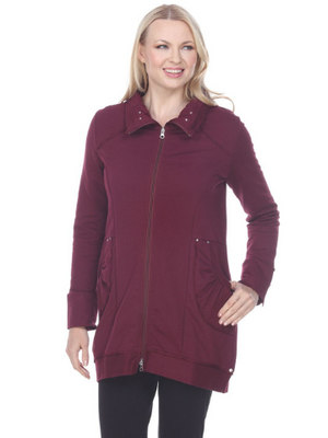 Devon Cotton Fleece Coat - Burgundy