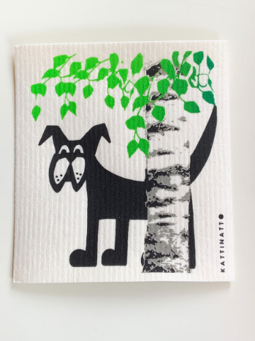Compostable and Re-usable Dish Cloth/ Kitchen Wipe - Dog behind a Birch Tree