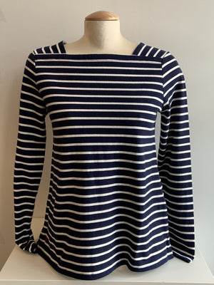 Square Neck Transitional Tee - Navy Stripe