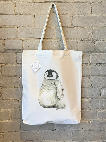 Reusable Art Market Tote - Penguin