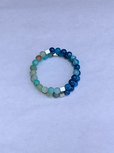 Charity Gemstone Bracelet - Banded Blue Agate and Cracked Blue Agate