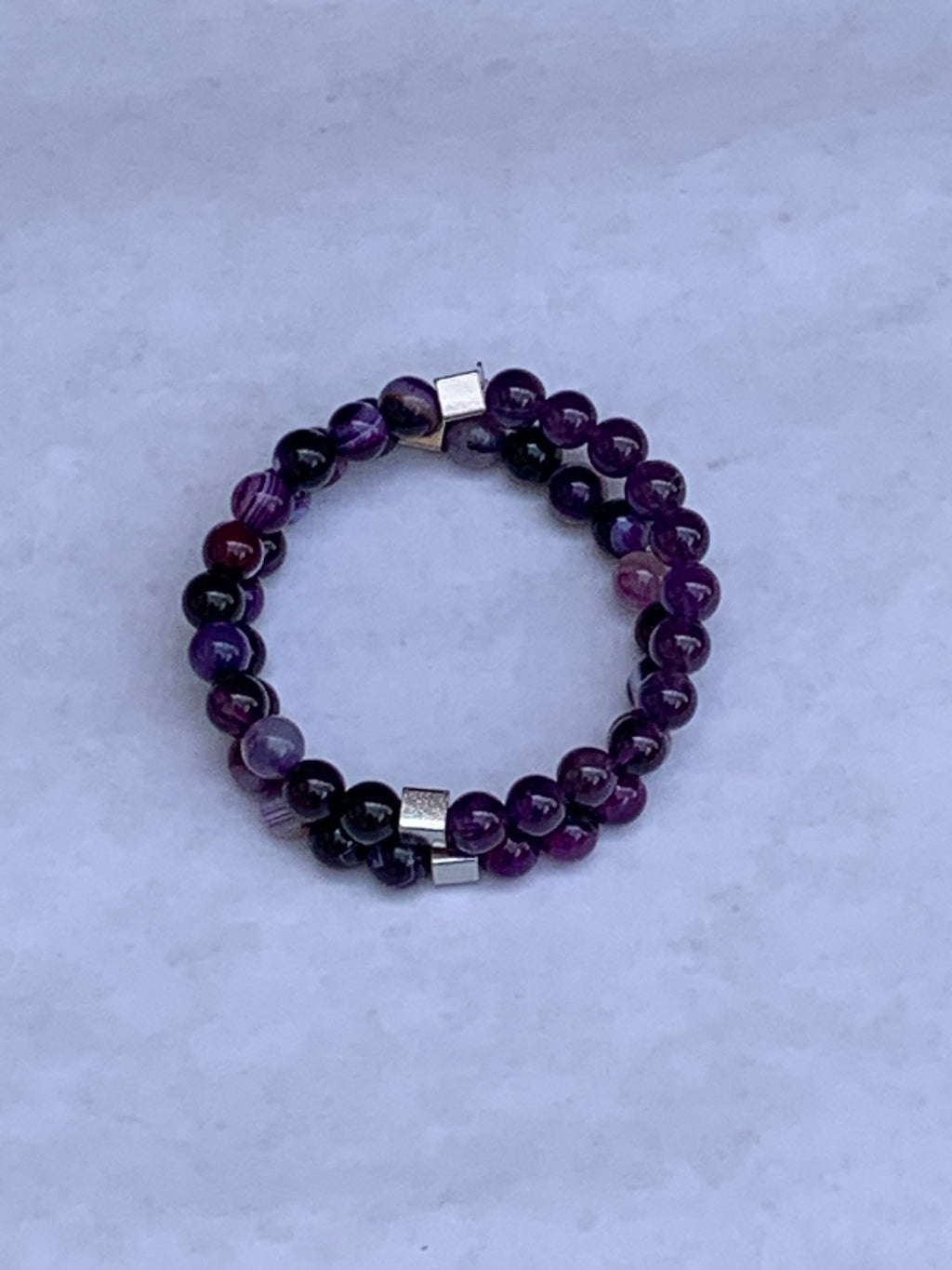 Charity Gemstone Bracelet - Banded Purple Agate