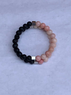 Charity Gemstone Bracelet - Pink Jade and Lava