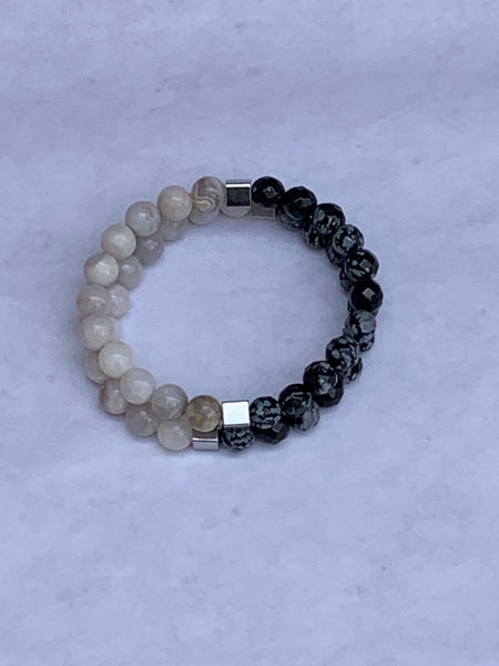 Charity Gemstone Bracelet - White Agate and Faceted Snowflake Obsidian
