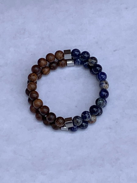 Charity Gemstone Bracelet - Sodalite and Sandalwood