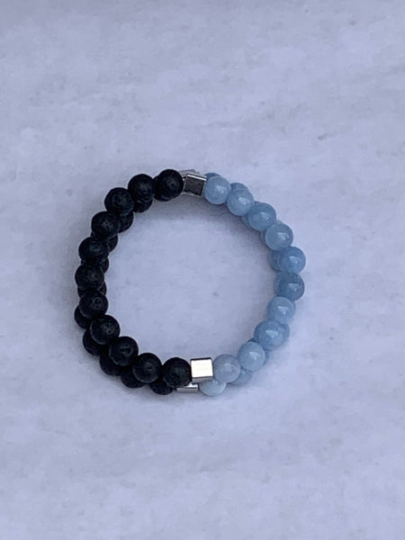 Charity Gemstone Bracelet - Blue Jade and Lava