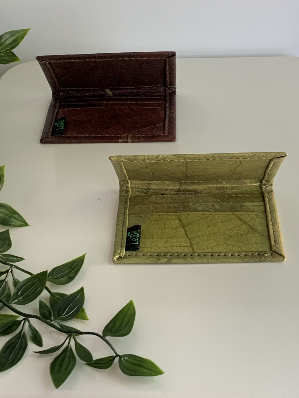 Vegan Leaf Leather Credit Card Holder