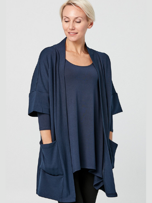 Joanne Organic Cotton French Terry Cardigan - Navy