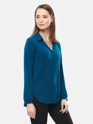 Lucia Tailored Bamboo Blouse - Prussian Blue