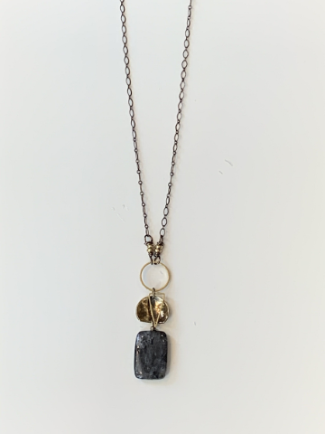 Nova Long Necklace - Obsidian