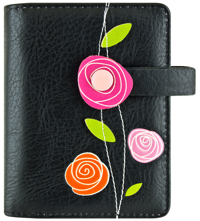 Roses Small Wallet - Black
