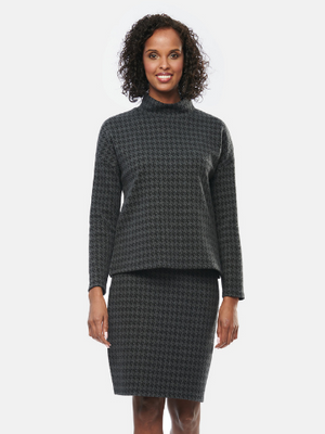 Jan Bamboo Pencil Skirt - Houndstooth