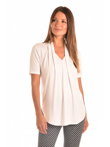 Draped Neck Bamboo Jersey Top in Off White