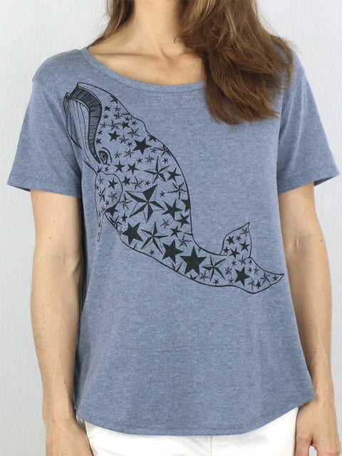 Nancy Charity Tee - Star Whale in Cool Grey