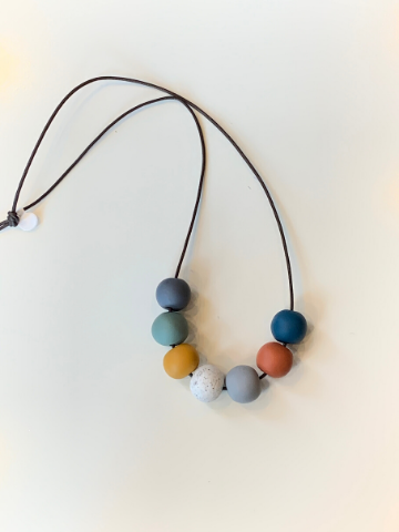 Seven Bead Necklace with warm and cool colours