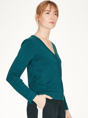 Loren Organic Cotton V Neck Basic Cardigan - Kingfisher