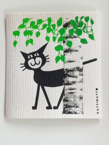 Compostable and Re-usable Dish Cloth/ Kitchen Wipe - Cat behind a Birch Tree