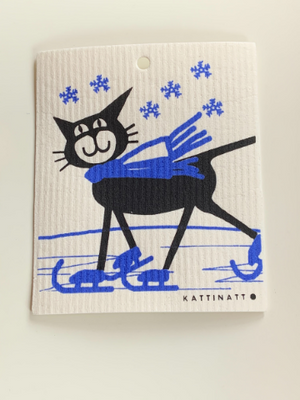 Compostable Holiday Kitchen Wipes - Cat on Skates