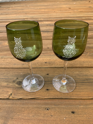 Two Green Wine Glasses - Dotted Cats