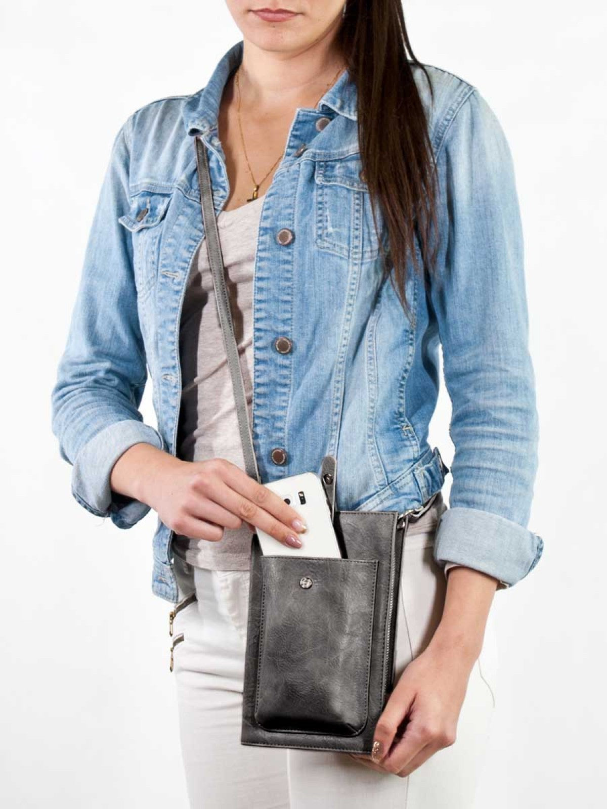 Smartphone Crossbody and Organizer - Blue Grey