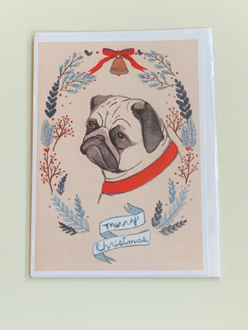 Pug Christmas Greeting Card