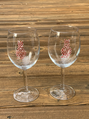Two Wine Glasses - Red and white cats