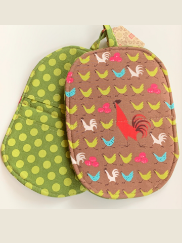 Zero waste Microwave Mitts - Hens and Roosters