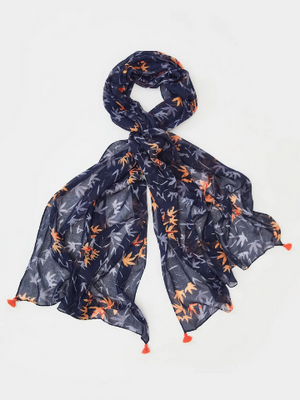 Navy Floral Modal Scarf