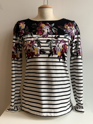 Long Sleeve Transitional Tee - Floral and Stripes