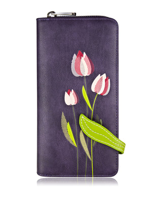 Tulip Clutch Wallet - Purple