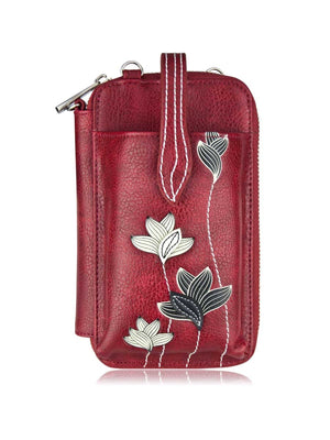 Crossbody Smartphone Pouch - Lotus Red