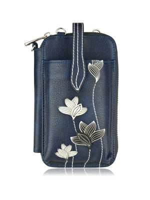 Crossbody Smartphone Pouch - Lotus Blue Black