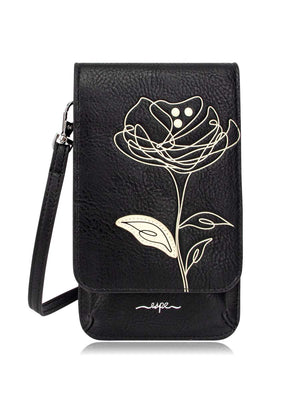 Mini Smartphone Crossbody - Black Flower Print