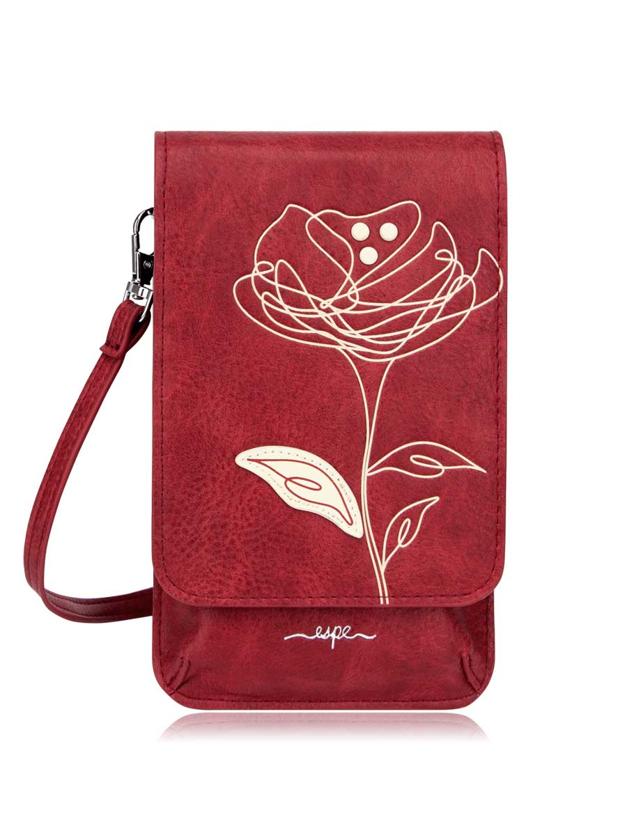Mini Smartphone Crossbody - Red Flower Print