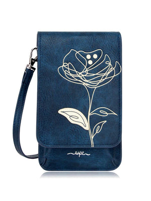Mini Smartphone Crossbody - Dark Blue Flower Print