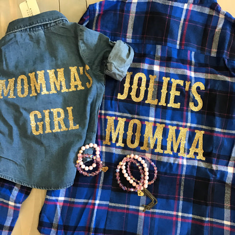 Mommy & Me Custom flannels/shirt set