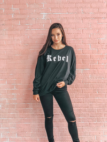"""REBEL"" long sleeve tee"