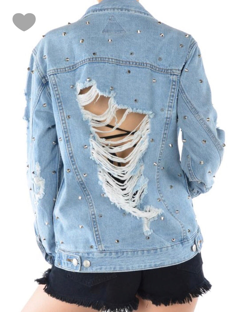 GIRL BOSS studded denim jacket