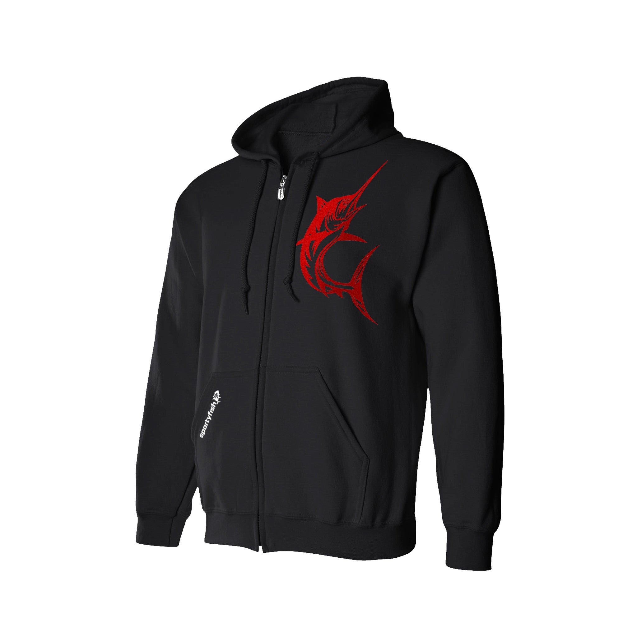 SportyFish Black Series Hoodie(front view): Black Marlin