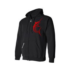 SportyFish Black Series black hoodie: Black Marlin front view