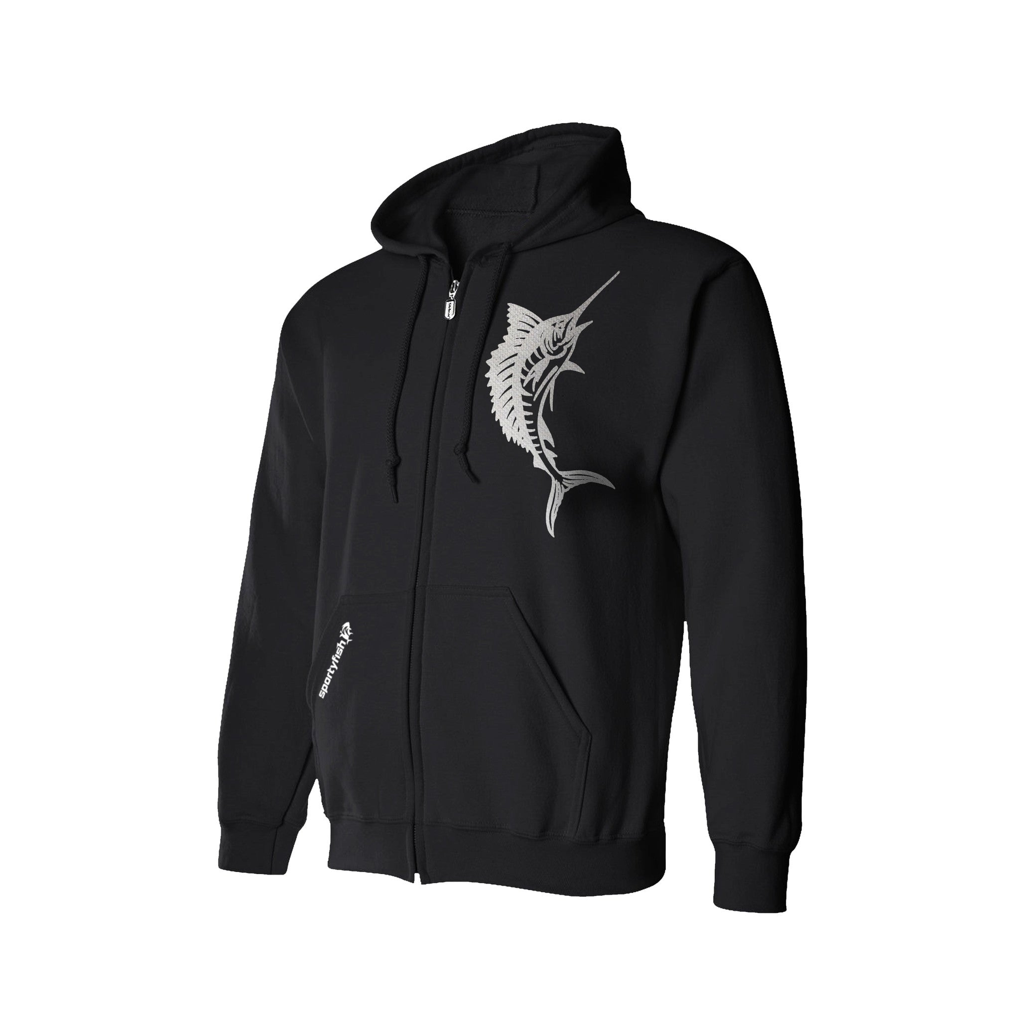 SportyFish Black Series Hoodie(front view): Atlantic Sailfish