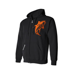 SportyFish Black Series black hoodie: Yellowfin Tuna front view