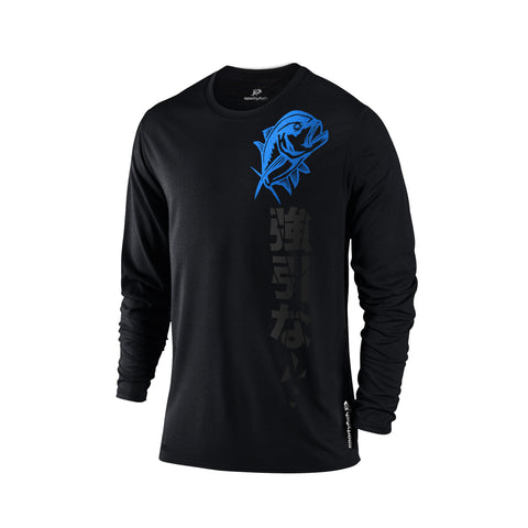 SportyFish Black Series Long-sleeves T-shirt(front view): Giant Trevally(In Japanese Words)