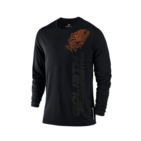 SportyFish Black Series black Long-sleeves t-shirt: Grouper front view