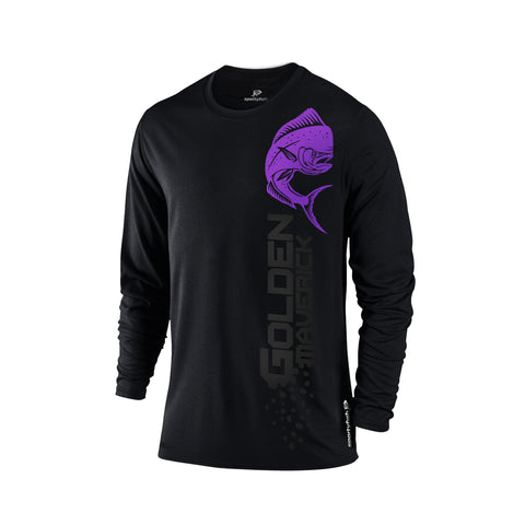 SportyFish Black Series black Long-sleeves t-shirt: Mahi-mahi front view
